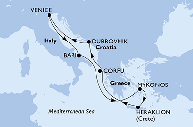 Italija, Grčija in Hrvaška
